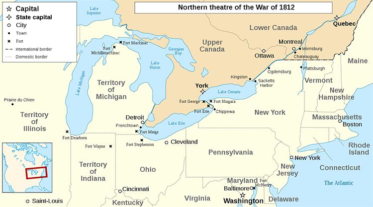 карта Англо-Американская война 1812
