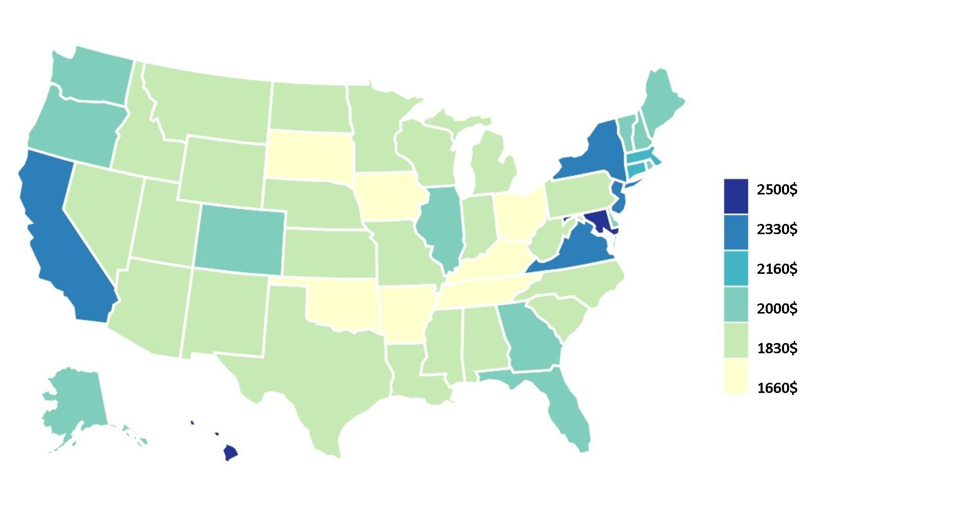 Размер месячной зарплаты, которую должен получать житель США