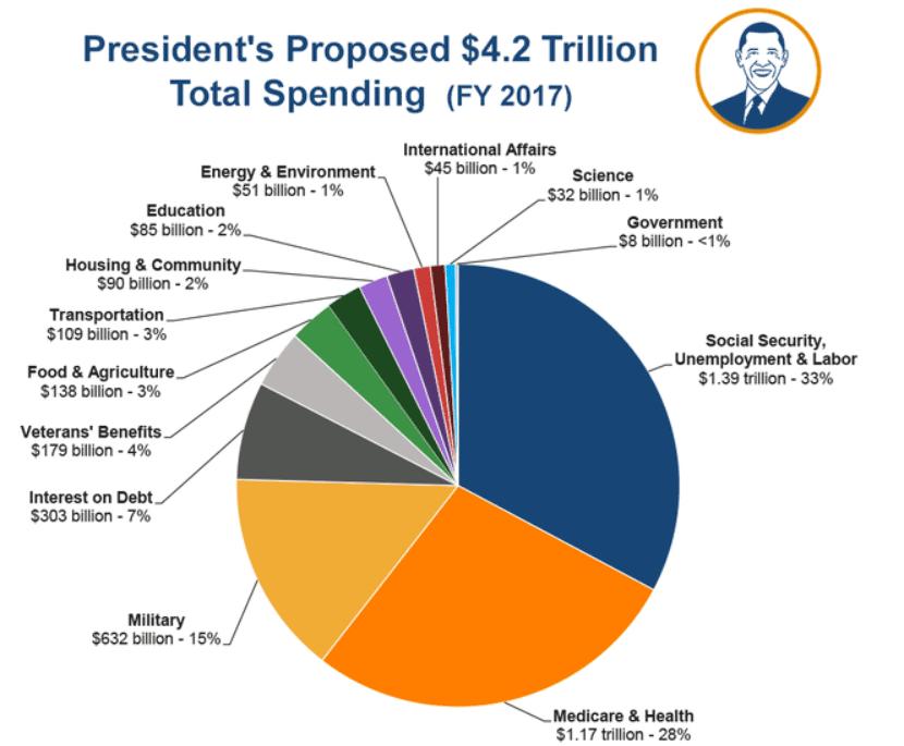 Структура расходов в бюджете США на 2017 год