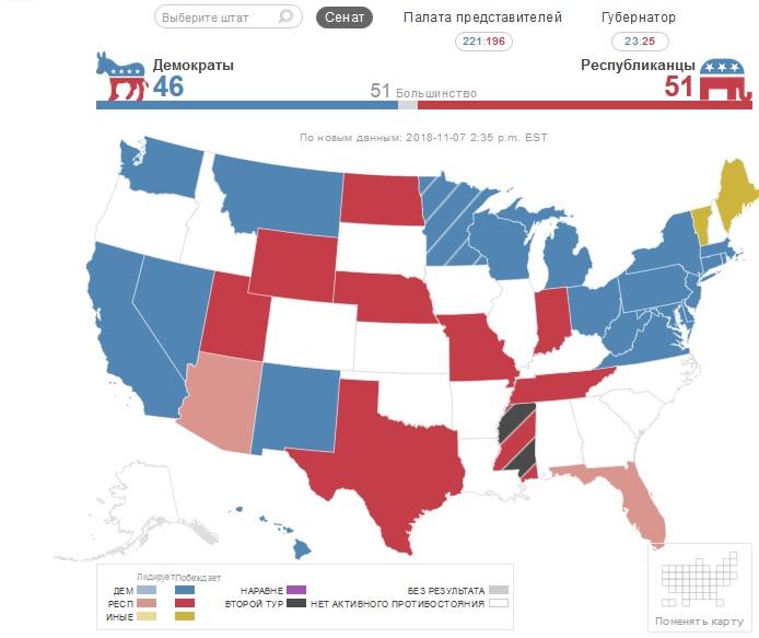 Интерактивный график на русском языке по выборам в США