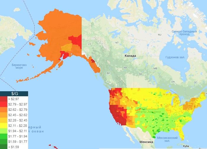 Цены на бензин за галлон на карте США