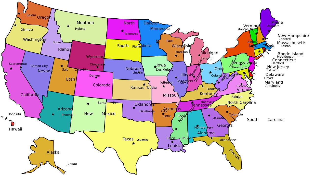 карта штатов в сша