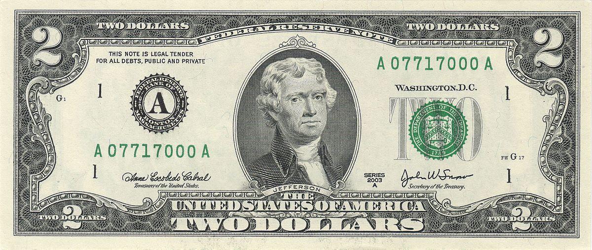 Двухдолларовая купюра США