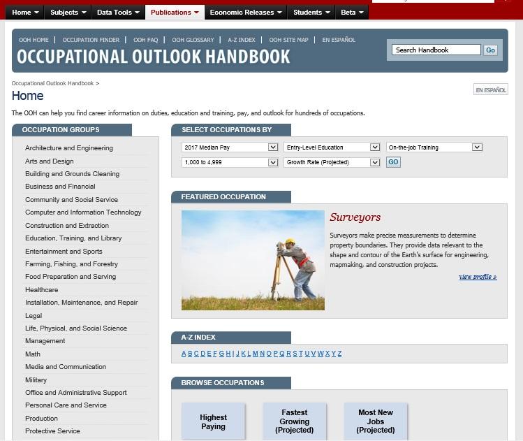 сайт департамента труда в США